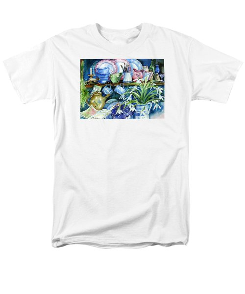 Men's T-Shirt  (Regular Fit) featuring the painting Snowdrops On A Kitchen Dresser by Trudi Doyle
