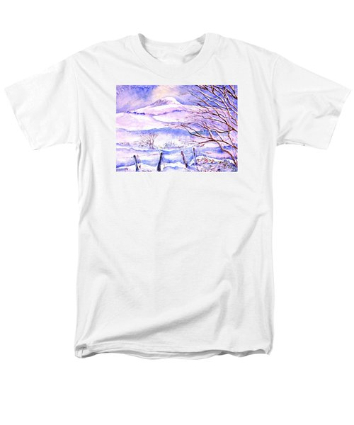 Men's T-Shirt  (Regular Fit) featuring the painting Snowfall On Eagle Hill Hacketstown Ireland  by Trudi Doyle