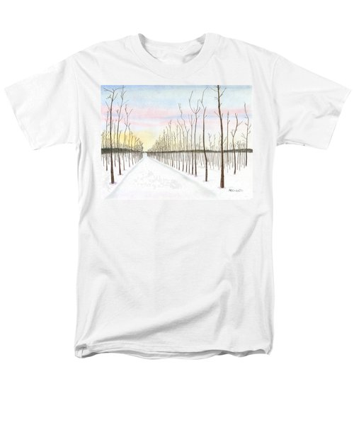 Men's T-Shirt  (Regular Fit) featuring the drawing Snowy Lane by Arlene Crafton