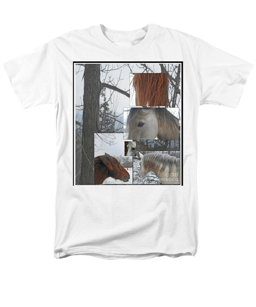 Stallions Collage There Is A Connection Men's T-Shirt  (Regular Fit) by Patricia Keller