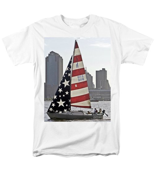 Men's T-Shirt  (Regular Fit) featuring the photograph Star Spangled Sail  by Lilliana Mendez