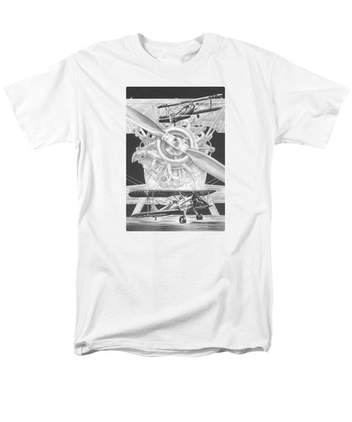 Stearman - Vintage Biplane Aviation Art Men's T-Shirt  (Regular Fit) by Kelli Swan