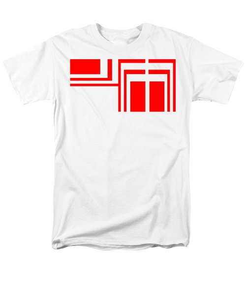 Men's T-Shirt  (Regular Fit) featuring the digital art Study In White And Red by Cletis Stump