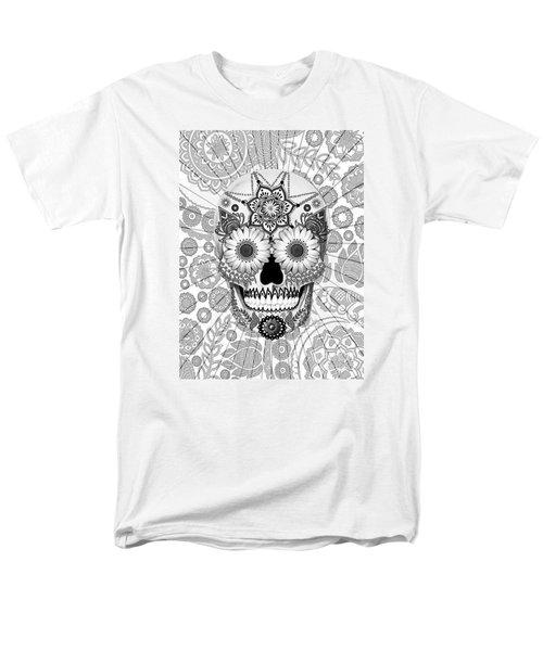 Sugar Skull Bleached Bones - Copyrighted Men's T-Shirt  (Regular Fit) by Christopher Beikmann