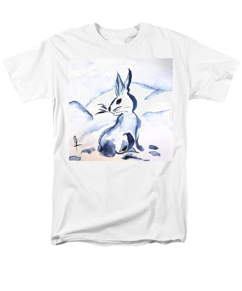 Sumi-e Snow Bunny Men's T-Shirt  (Regular Fit) by Beverley Harper Tinsley