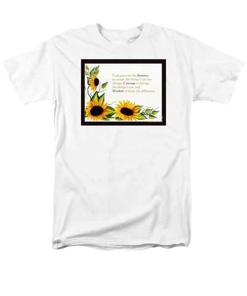 Sunflowers And Serenity Prayer Men's T-Shirt  (Regular Fit) by Barbara Griffin
