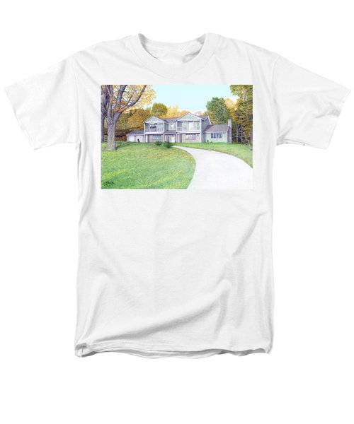 Men's T-Shirt  (Regular Fit) featuring the painting Sunset House In Fall by Albert Puskaric