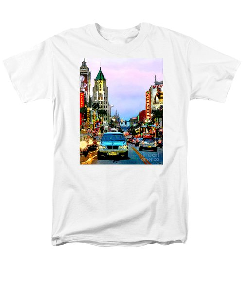 Men's T-Shirt  (Regular Fit) featuring the digital art Sunset On Hollywood Blvd by Jennie Breeze