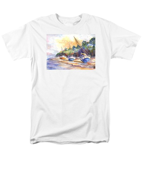 Men's T-Shirt  (Regular Fit) featuring the painting Sunset Sail On Brittany Beach  by Carol Wisniewski