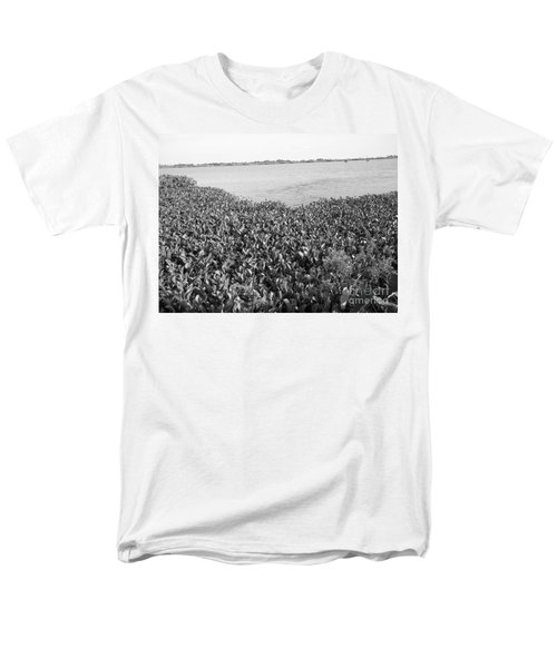 Men's T-Shirt  (Regular Fit) featuring the photograph Swamp Hyacinths Water Lillies Black And White by Joseph Baril