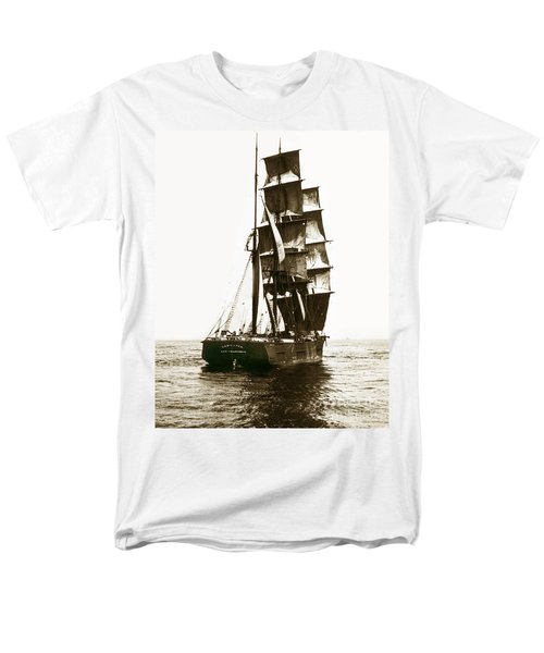 Men's T-Shirt  (Regular Fit) featuring the photograph Tall Ship Germania Out Of San Francisco California  Circa 1900 by California Views Mr Pat Hathaway Archives