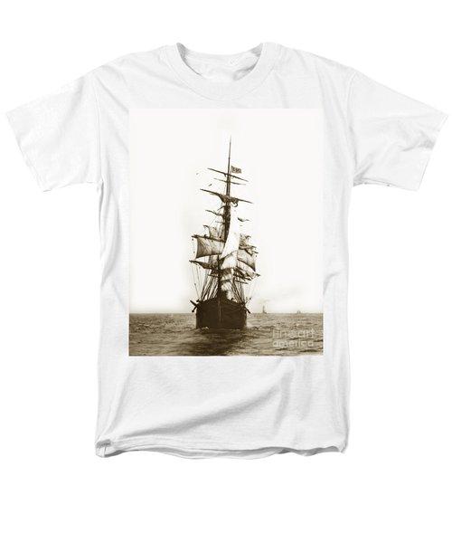 Men's T-Shirt  (Regular Fit) featuring the photograph Tall Ship Sailing Out Of San Francisco California Circa 1900 by California Views Mr Pat Hathaway Archives