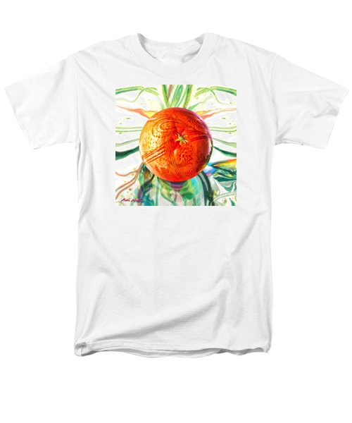 Men's T-Shirt  (Regular Fit) featuring the painting Tangerine Orb Nouveau by Robin Moline
