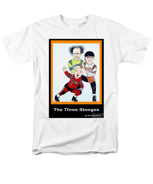 The 3 Stooges Playing Roller Derby Men's T-Shirt  (Regular Fit) by Jim Fitzpatrick