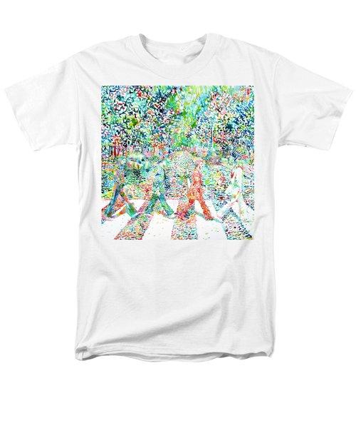 The Beatles - Abbey Road - Watercolor Painting Men's T-Shirt  (Regular Fit)