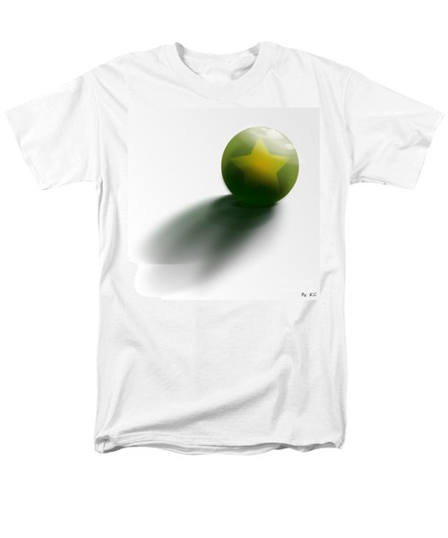 Men's T-Shirt  (Regular Fit) featuring the digital art Green Ball Decorated With Star White Background by R Muirhead Art