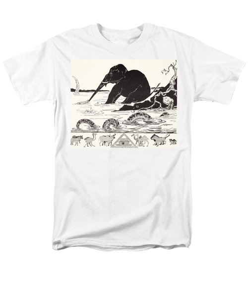The Elephant's Child Having His Nose Pulled By The Crocodile Men's T-Shirt  (Regular Fit) by Joseph Rudyard Kipling