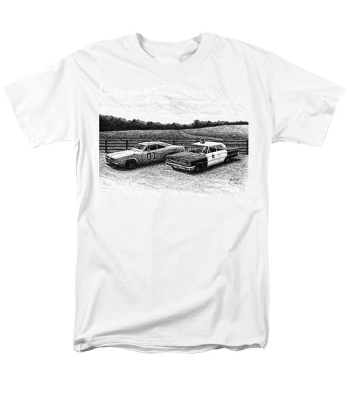 Men's T-Shirt  (Regular Fit) featuring the drawing The General Lee And Barney Fife's Police Car by Janet King