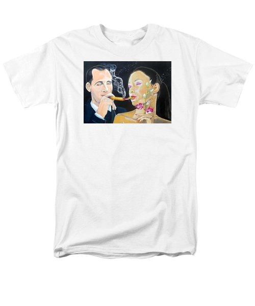Men's T-Shirt  (Regular Fit) featuring the painting The Kiss Edge Listen With Music Of The Description Box by Lazaro Hurtado