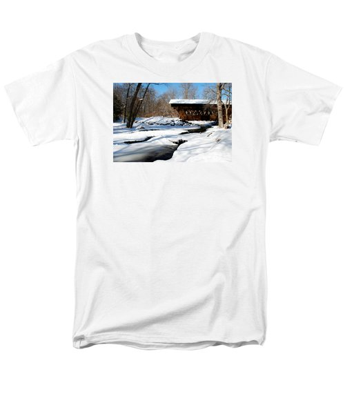 Men's T-Shirt  (Regular Fit) featuring the photograph The River Flows Under The Springwater Covered Bridge by Janice Adomeit
