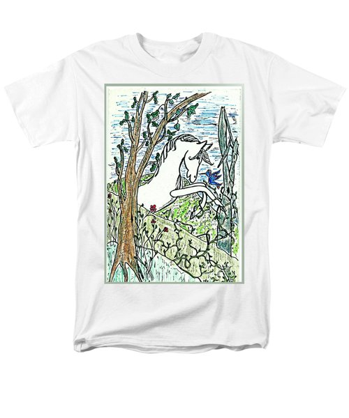 The White Stallion Is Chatting With His Friends Men's T-Shirt  (Regular Fit) by Patricia Keller