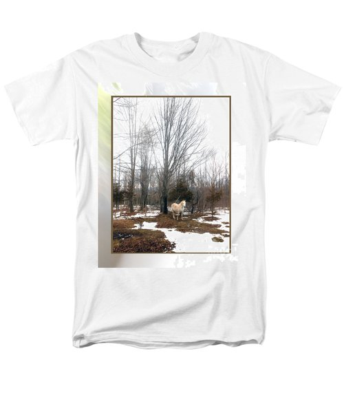 The White Stallion On A Snowless  Mound Men's T-Shirt  (Regular Fit) by Patricia Keller