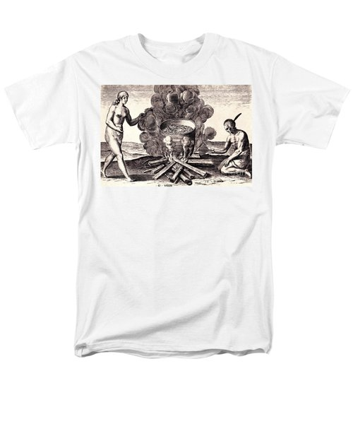 Men's T-Shirt  (Regular Fit) featuring the drawing Their Seetheynge Of Their Meate In Earthen Pottes by Peter Gumaer Ogden