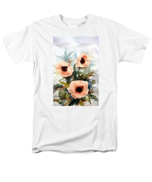 Men's T-Shirt  (Regular Fit) featuring the painting Three Poppies by William Renzulli