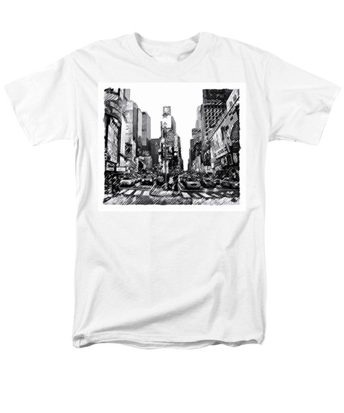Men's T-Shirt  (Regular Fit) featuring the painting Times Square   New York City by Iconic Images Art Gallery David Pucciarelli