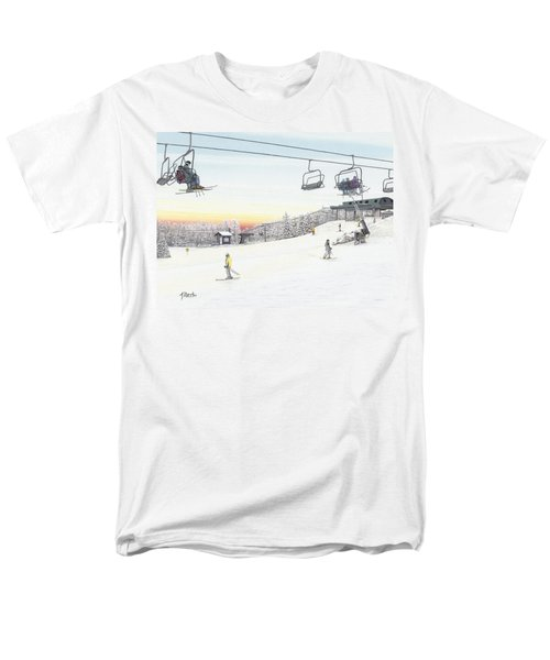 Men's T-Shirt  (Regular Fit) featuring the painting Top Of The Mountain At Seven Springs by Albert Puskaric