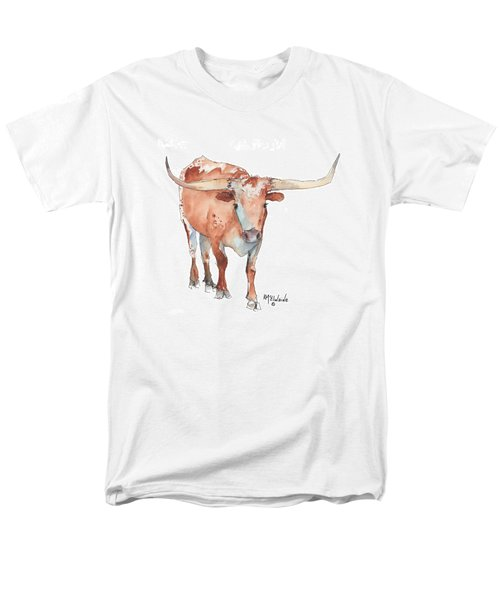 Square Walking Tall Texas Longhorn Watercolor Painting By Kmcelwaine Men's T-Shirt  (Regular Fit) by Kathleen McElwaine