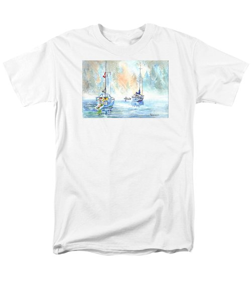 Men's T-Shirt  (Regular Fit) featuring the painting Two In The Early Morning Mist by Carol Wisniewski