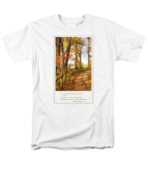 Men's T-Shirt  (Regular Fit) featuring the photograph Two Roads Diverged by Jean Goodwin Brooks