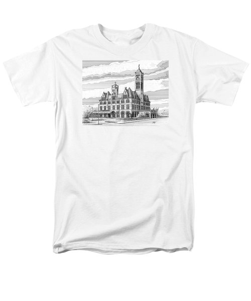 Men's T-Shirt  (Regular Fit) featuring the drawing Union Station In Nashville Tn by Janet King