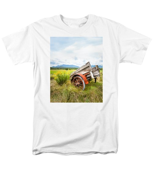Men's T-Shirt  (Regular Fit) featuring the photograph Wagon And Wildflowers - Vertical Composition by Gary Heller