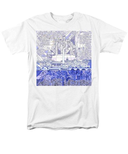 Washington Dc Skyline Abstract 3 Men's T-Shirt  (Regular Fit) by Bekim Art