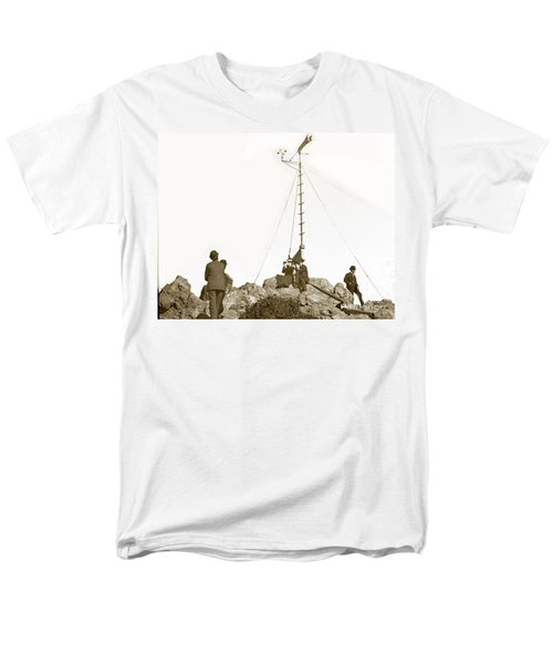Men's T-Shirt  (Regular Fit) featuring the photograph Weather Station Mount Tamalpais Marin County California Circa 1902 by California Views Mr Pat Hathaway Archives