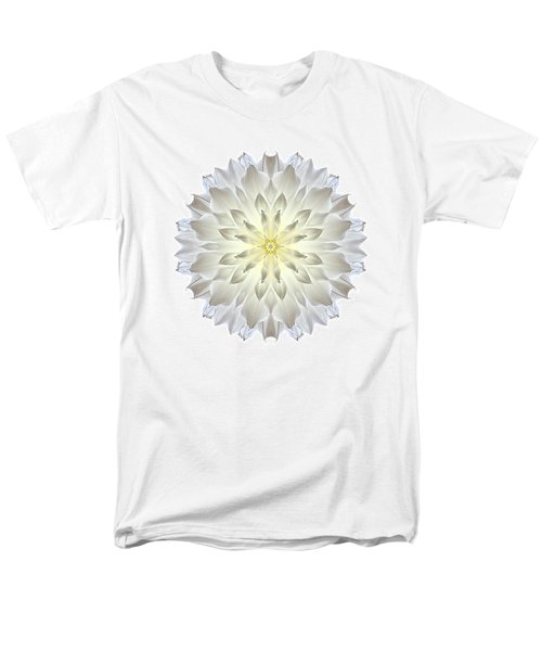 Giant White Dahlia I Flower Mandala White Men's T-Shirt  (Regular Fit)