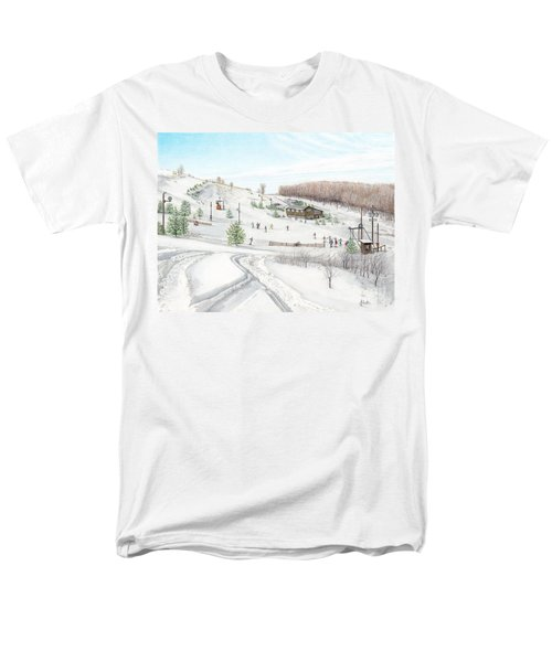 Men's T-Shirt  (Regular Fit) featuring the painting White Mountain Resort by Albert Puskaric