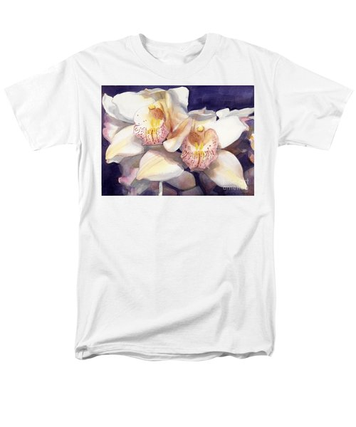White Orchids Watercolor Men's T-Shirt  (Regular Fit) by Greta Corens