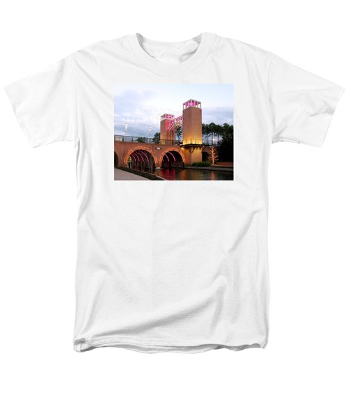 Men's T-Shirt  (Regular Fit) featuring the photograph Winter Evening Lights On The Woodlands Waterway by Connie Fox
