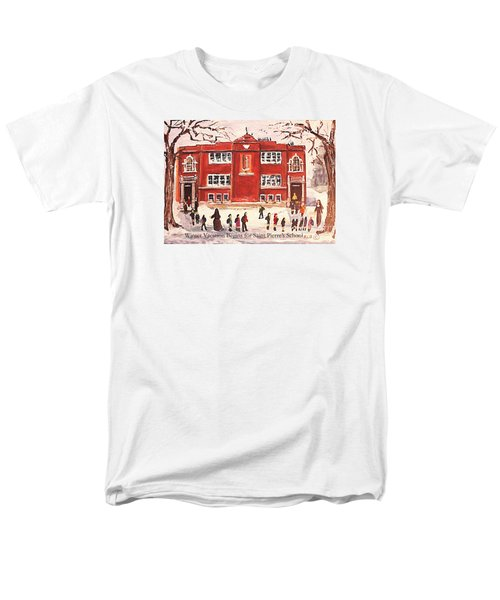 Men's T-Shirt  (Regular Fit) featuring the painting Winter Vacation Begins For Saint Pierre's School by Rita Brown