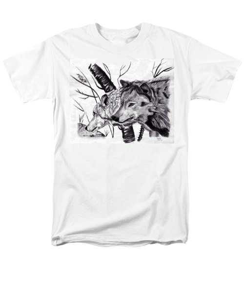 Men's T-Shirt  (Regular Fit) featuring the drawing Wolves by Mayhem Mediums