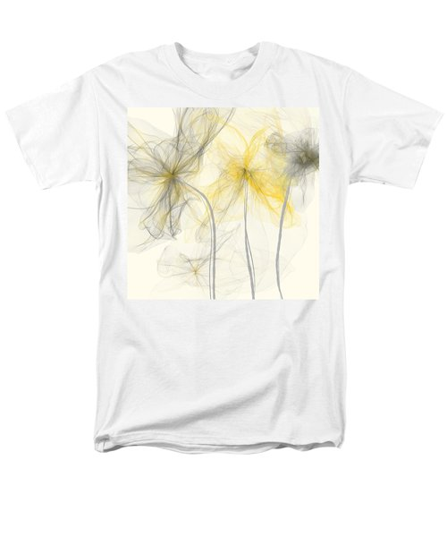 Yellow And Gray Flowers Impressionist Men's T-Shirt  (Regular Fit) by Lourry Legarde