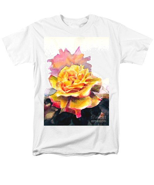 Men's T-Shirt  (Regular Fit) featuring the painting Yellow Rose Fringed In Red by Greta Corens