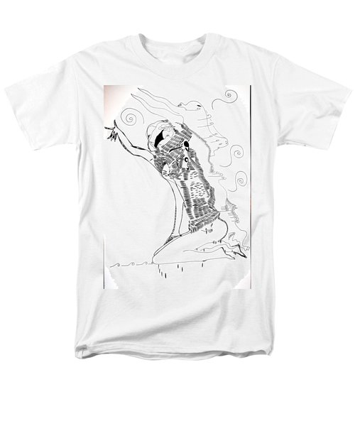 Men's T-Shirt  (Regular Fit) featuring the drawing Dinka Dance - South Sudan by Gloria Ssali
