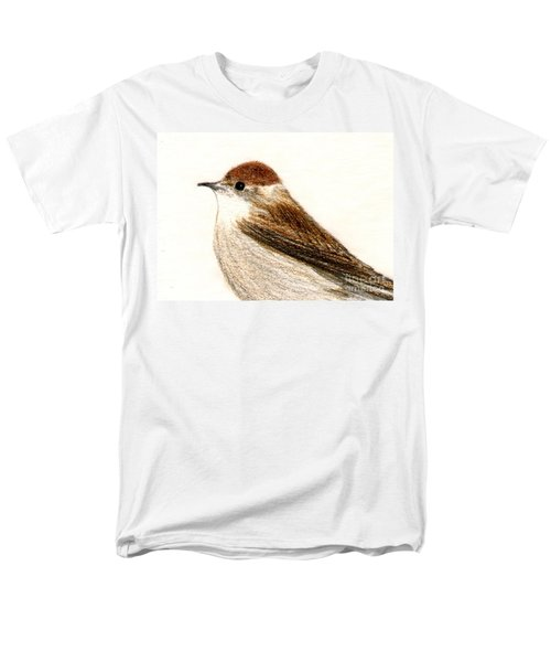 Men's T-Shirt  (Regular Fit) featuring the drawing Female Blackcap  by Barbara Moignard
