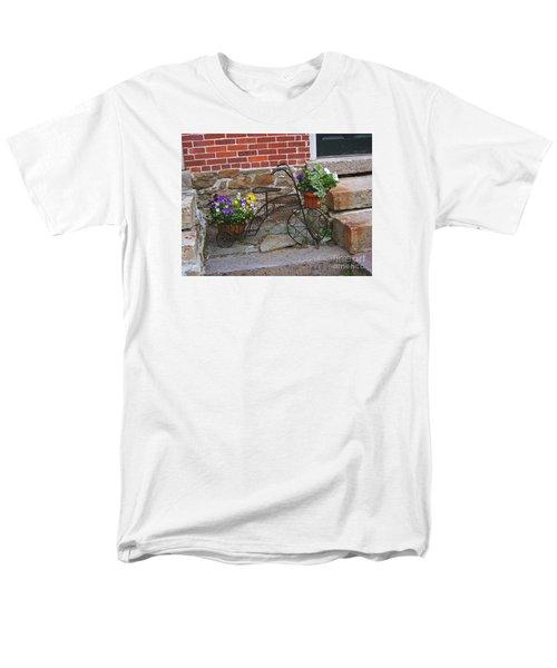 Flower Bicycle Basket Men's T-Shirt  (Regular Fit) by Val Miller