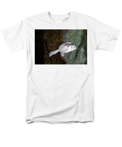 Tufted Titmouse In Flight Men's T-Shirt  (Regular Fit) by Ted Kinsman