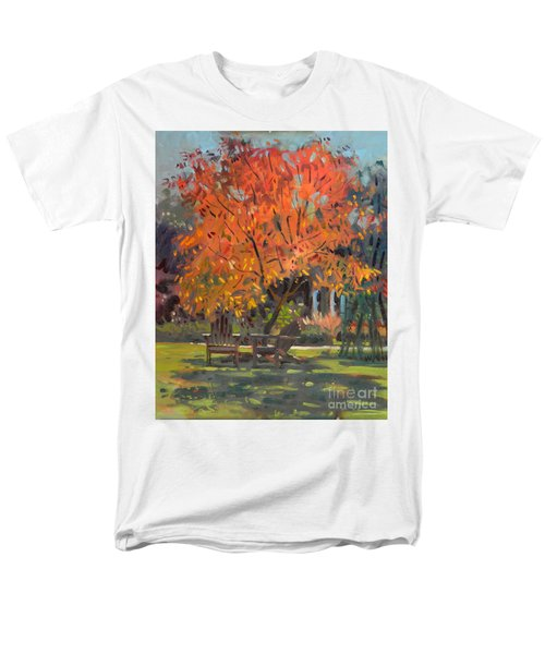 Men's T-Shirt  (Regular Fit) featuring the painting Adirondack Chairs by Donald Maier
